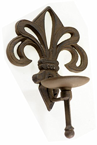 Fleur de LYS French Candle Holder Cast Iron Votive Fluer Gothic Sconce