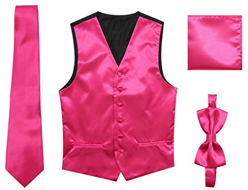 JAIFEI Satin Men Wedding Vest - Set Neck Tie, Bow Tie & Handkerchief (S(Chest 36), Hot Pink)