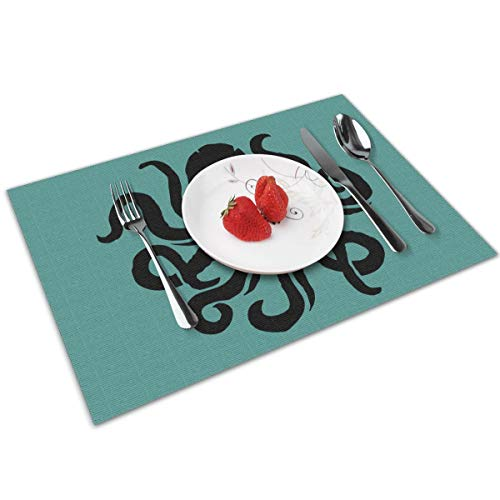 Candy Ran Octopus Sea Fish Pirates Indoor/Outdoor Placemats/Place Mats/Table Mats Set of 4, Kitchen Tablemats for Dining Table, Non-Slip Washable Heat -