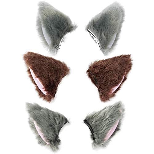 BAOBAO Cat Fox Long Fur Ears Hair Clip Headwear Cosplay Halloween Costume (3pcs(Grey&White+Brown+Grey&Pink))