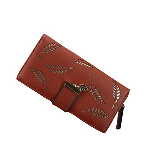 Card C feuilles embrayage Pack XINTO creux Femmes PU en main Zipper à longues sac cuir A6WO7On