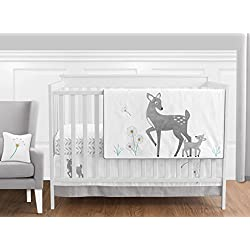 Grey Gold and White Forest Deer and Dandelion Unisex Bedding 11 Piece Crib Set Without Bumper