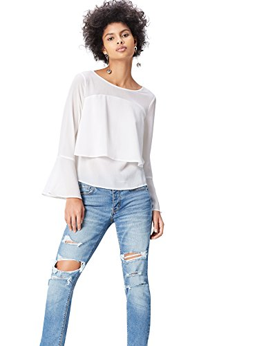 Femme Longues Top Manches Blanc Ivory FIND tq6wCEC7