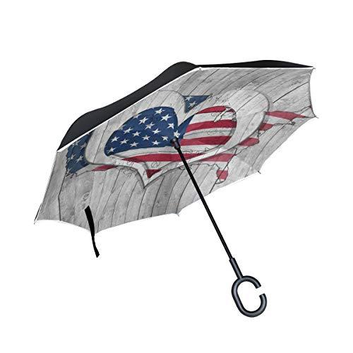 - Reverse Umbrella American Flag Map Love Heart Inverted Umbrella Windproof Anti-UV