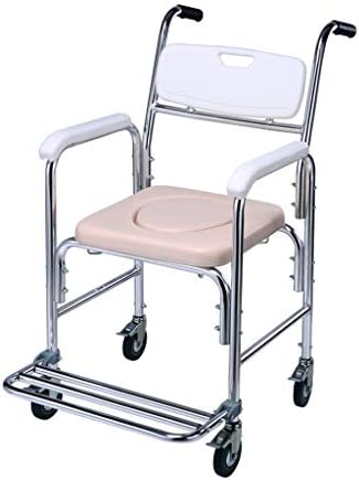 Wei Zhe ホーム大人の椅子を移動する車輪付き高齢妊娠中の女性のためのアルミシャワーチェアベッドサイド便器 ホームケア (Color : White)