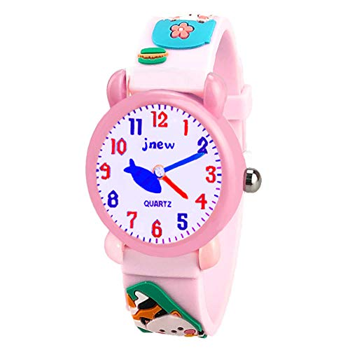 Ouwen 4-8 Year Old Girls Gifts, 3D Cute Cartoon Kids Waterproof Watch 9-14 Year Old Girls Gifts Toys for Girls Age 3-12 Gifts for Girls 3-12 Year Old Kitten OWUSWC003