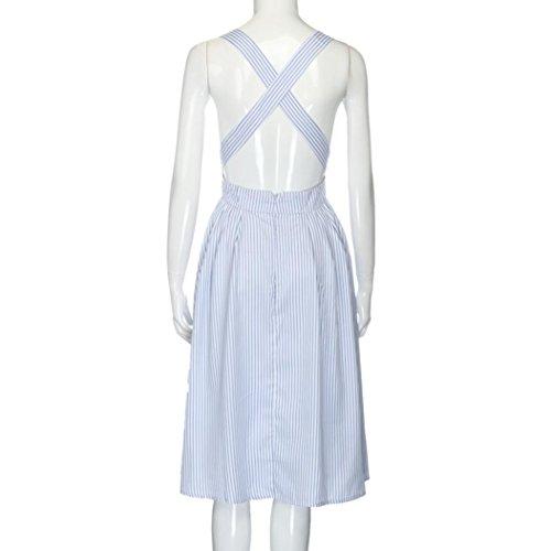 Kleid Transer® Damen Elegant Sexy Kleider Hausfrau Täglich Sleeveless Rückenfrei Quadratischer Kragen Knielang Outdoor Streifen Blau Kleid Gr.S-XL