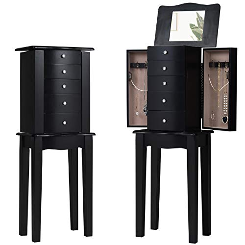 HOMGX, Black Standing Cabinet with Mirror, Wooden Chest, Bedroom Jewelry Armoires with 5 Drawers