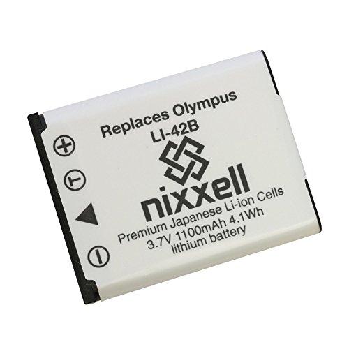 Nixxell Battery for Olympus LI-40B,LI-42B,LI-41C and Olympus D-630,D-720,D-725,IR-300,FE20,150,160,190,220,230,240,250,280,290,300,320,330,340,350,360,3000,3010,4000,4010,4030,4050,5000,5010,5020,5030,5035,5050,5500,Styus 550WP,700,710,720SW,725SW,730,740,750,760,770SW,780,790SW,820,830,840,850SW,1040,1050SW,1200,5010,7000,7010,7030,7040,Tough 3000,TG-310,TG-320,VG-165,VG-180,VH-210,VR-310,320,325,330, X-560WP, X-600,730,785,790,795, 800, 835, (Olympus Fe)