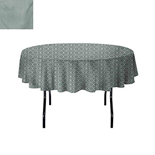 Gloria Johnson Retro+Leakproof+Polyester+Round+Tablecloth+Medieval+Authentic+Style+Curved+Oval+Floral+Motifs Outdoor+and+Indoor+use+D55+Inch+Pale+Sage+Green+White+