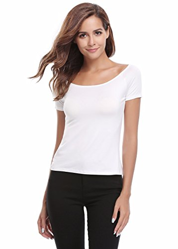 18 Misses Tops (MISS MOLY Women's Off Shoulder Slim Short Sleeves Boat Neck T-Shirt Top White XL)