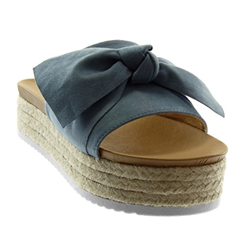 cm Zeppa Zeppe Blu Sandali Tacco 4 Corda Donna Mules Moda Slip 5 Scarpe Intrecciato Angkorly Nodo On Piattaforma wa7qBUY