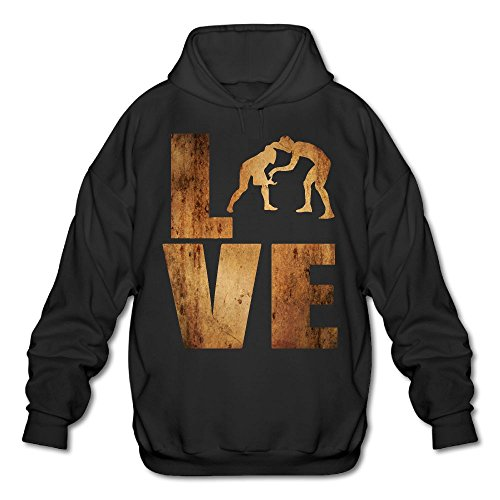 LuckyPowerMen Love Wrestling Vintage Men's Cotton Fashion Durable Vintage Warm Fall/Winter Hooded Sweatshirt by LuckyPowerMen