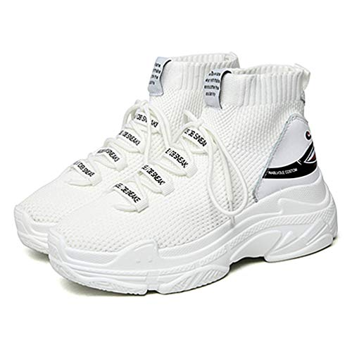 En Unisex De Calcetines Casual Transpirable Deslizamiento Zapatillas Hombre Zapatos Zapatos Zapatillas Punto Alto Blanco Ligeros Zapatillas PwqHzqpx