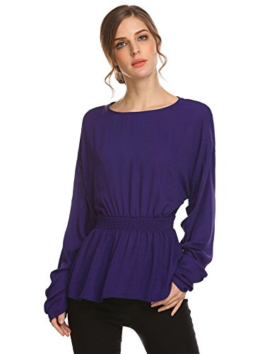 - Zeagoo Women's Long Sleeve Elastic Waist Crepe Blouse Flounce Hem Top Blue