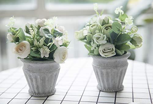 Bluecho Artificial Flowers With Vase Faux Peony Silk Flowers Arrangements For Wedding Home Desk Decoration Set of 2 (Flower Arrangement Tall)