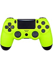 eXtremeRate Lime Yellow Custom Faceplate Cover for PS4 Controller, Soft Touch DIY Replacement Front Housing Shell Case for PS4 Slim Pro JDM-040 JDM-050 JDM-055 Controller - Controller NOT Included