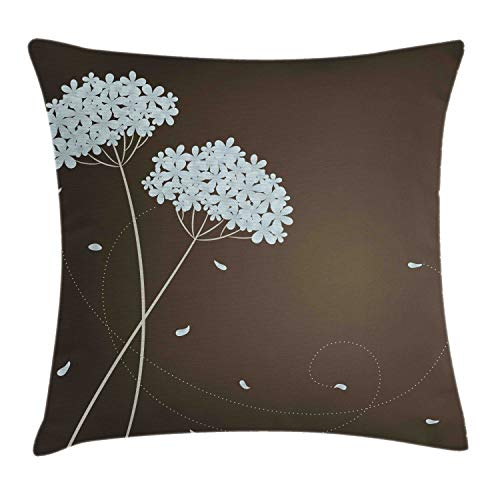Ambesonne Brown and Blue Throw Pillow Cushion Cover, Floral Design with Swirl Lines Falling Leaves Autumn Inspired, Decorative Square Accent Pillow Case, 16 X 16 inches, Brown Pale Seafoam Cream