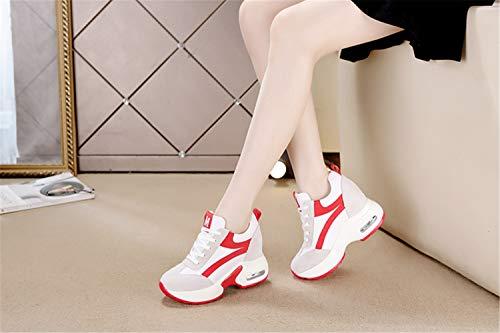9cm Cuña Tacón Correr Zapatos Gimnasio Tqgold® Plataforma De Altas Mujer Rojo Zapatillas Deporte Sneakers q17xx4Xw6