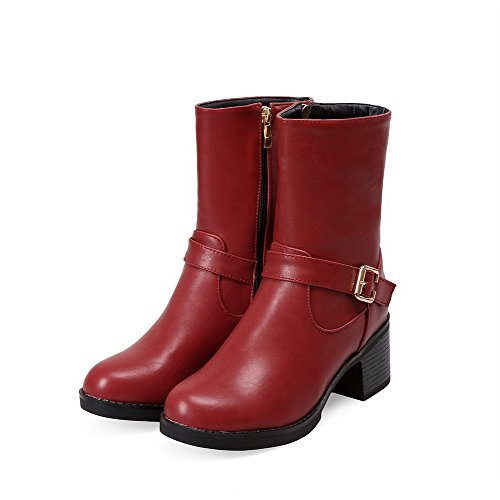 Kitten Soft Red Heels Round Solid Closed Zipper Boots Toe Material WeenFashion Women's ZBwpxx