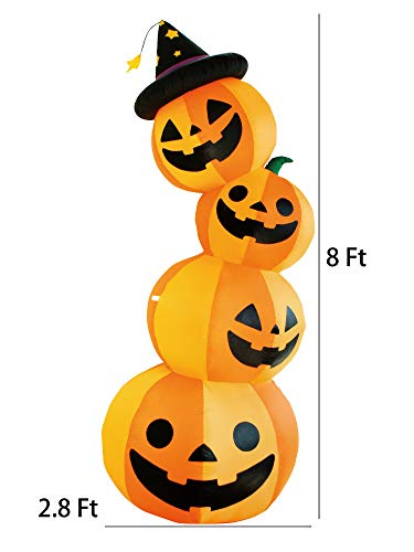8 Ft Halloween Inflatable 4 Pumpkin Stack Decoration Jack-o-Lantern Inflatables for Indoor Outdoor Home Yard Party