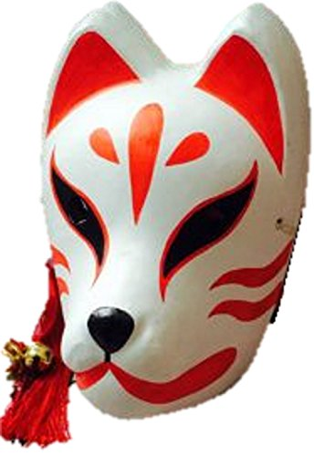 [T2C Japanese Fox Mask Cosplay goods fox transformation Halloween Party (Red & White)] (Joker Nurses Costume)