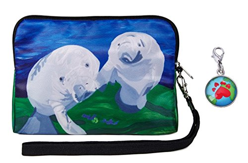 Manatees Wristlet Zip-top with Detachable Strap and Charm - Save the Manatees, Read (Manatee Purse)
