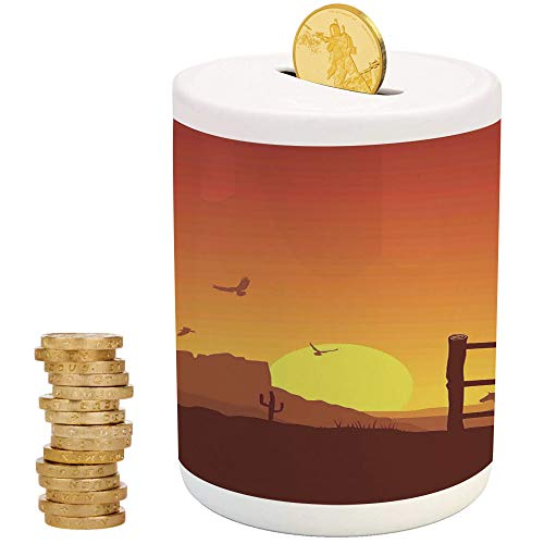 Western,Ceramic Girls Bank,Printed Ceramic Coin Bank Money Box for Cash Saving,Silhouette of Cowboy in Wild West Sunset Landscape American Culture Image Artsy Print