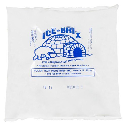 Ice-Brix IB12BPD Cold Pack, 6'' Length x 5-3/4'' Width x 1'' Height, 12 oz, White (Case of 24) by ICE-BRIX