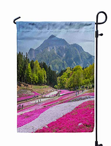 Shorping Holiday Garden Flags, 12x18Inch City Saitama Japan April The Landscape of Where Moss Blooms All Over from for Holiday and Seasonal Double-Sided Printing Yards Flags