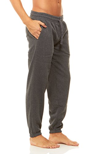 Unique Styles Mens Fleece Lined Athletic Sweatpants Pockets Drawstring Waistband (X-Large, Charcoal) (Lined String)