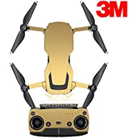 SopiGuard 3M Brushed Gold Precision Edge-to-Edge Coverage Vinyl Sticker Skin Controller 3 x Battery Wraps for DJI Mavic Air