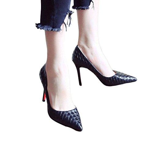 Rêve Hauts Peu Aiguilles 38 Bouche Femme Noir Sexy Sandales couleur Mode Vintage Talons Profonde D'été Talons À Bout Taille Pointu À Chaussures qqr5P8wx