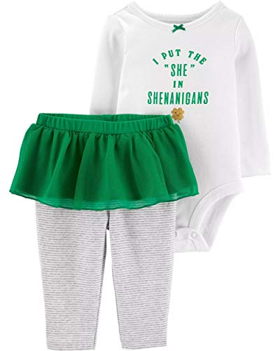 Carter's Baby Girls' 2-Piece St. Patrick's Day Bodysuit & Tutu Pant Set (18 Months, Ivory/Green)