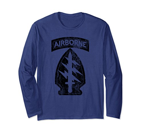 Airborne Long Sleeve T-shirt (Unisex Vintage Army Airborne Special Forces T Shirt 2XL Navy)