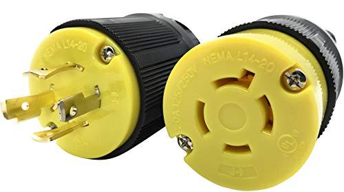 Journeyman-Pro 20 Amp, Plug & Connector Set, NEMA L14-20R & L14-20P, 125/250V, Locking Plug Socket, Black Industrial Grade, Grounding 5000 Watts Generators (L14-20PR PLUG SET)