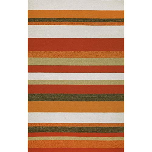 Liora Manne Ravella Stripe Rug, Indoor/Outdoor, 5-Feet by 7-Feet 6-Inch, Orange