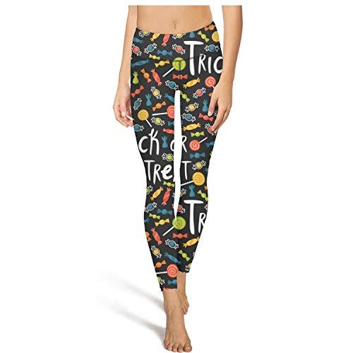 Long Running Halloween Candy Trick Treat Leggings Women's Fashion Tights Active Yoga Pant