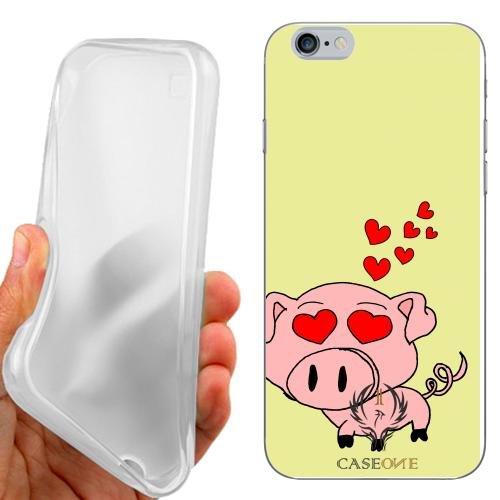 CUSTODIA COVER CASE CASEONE LOVE PIG PER IPHONE 6 4.7 POLLICI