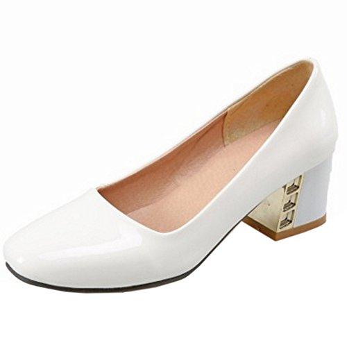 TAOFFEN Block Women Pumps White Classical Shoes Heel Retro High Slip On qw4Uaw