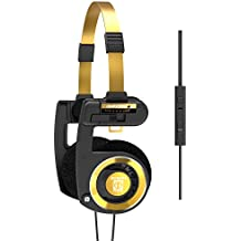 Koss Porta Pro Limited Edition Black Gold Headphones | in-Line Microphone & Remote | Volume Control | Portable On-Ear | Hard Carry Case Included | Black & Gold
