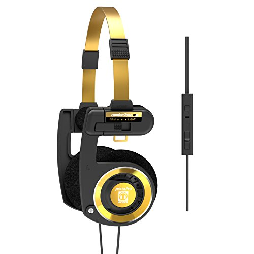 Koss Porta Pro Limited Edition Black Gold Headphones with Microphone, Volume Control, and Remote