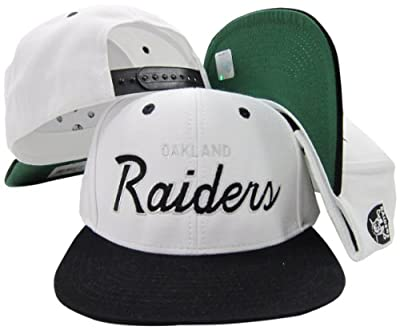 Oakland Raiders White/Black Script Two Tone Adjustable Snapback Hat / Cap