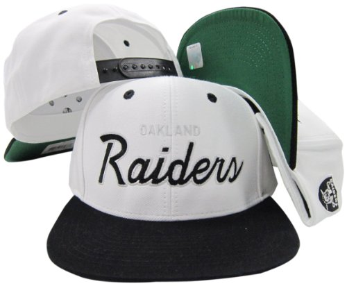 Oakland Raiders White/Black Script Two Tone Adjustable for sale  Delivered anywhere in USA