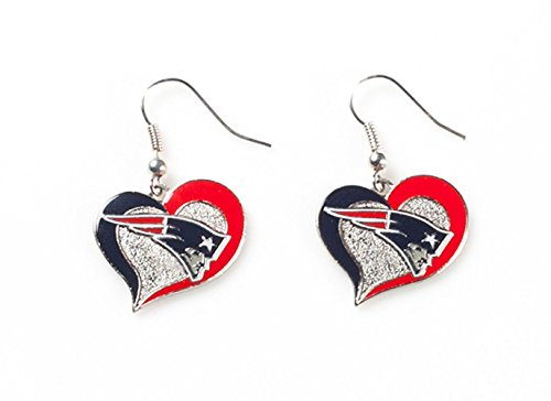 (NFL New England Patriots Swirl Heart Earrings)