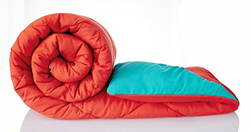 Solimo Microfibre Comforter, Single (Red & Blue, 200 GSM)