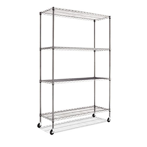 Review Alera Complete Wire Shelving Unit with Caster, Black Anthracite (2) By Alera by Alera
