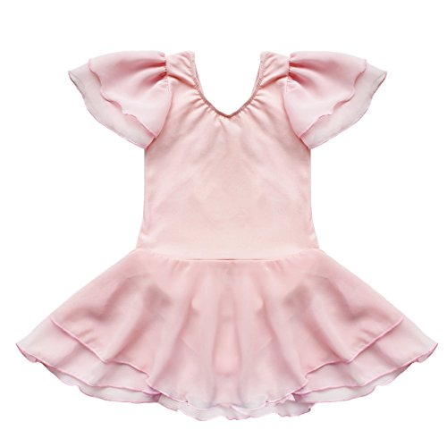 TIAOBU US Kids Gymnastics Ballet Tutu Dance Costume Dress 3-4 Pink (Pink Dance Costume)