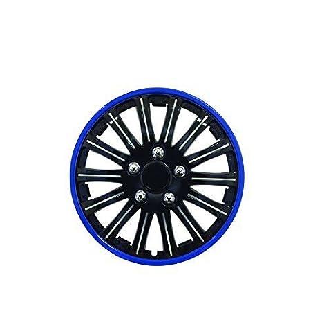 """Hyundai i10 14 """"Elegante Negro y Azul Borde Cubierta de la rueda ..."""