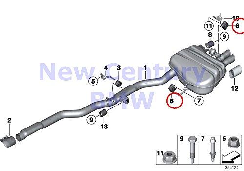 4 X BMW Genuine Center Muffler Exhaust System Rear Rubber Ring 740i 740i 750i 750iX ALPINA B7 ALPINA B7X 740Li 760Li 740Li 740LiX 750Li 750LiX 760Li ALPINA B7L ALPINA B7LX Hybrid 7L 640i 640iX 650i 65